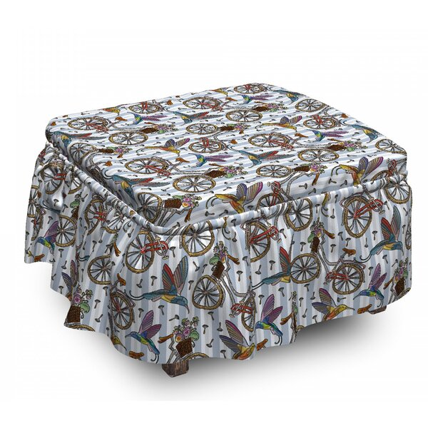 Bicycle Nostalgic Flower Bird 2 Piece Box Cushion Ottoman Slipcover Set By East Urban Home