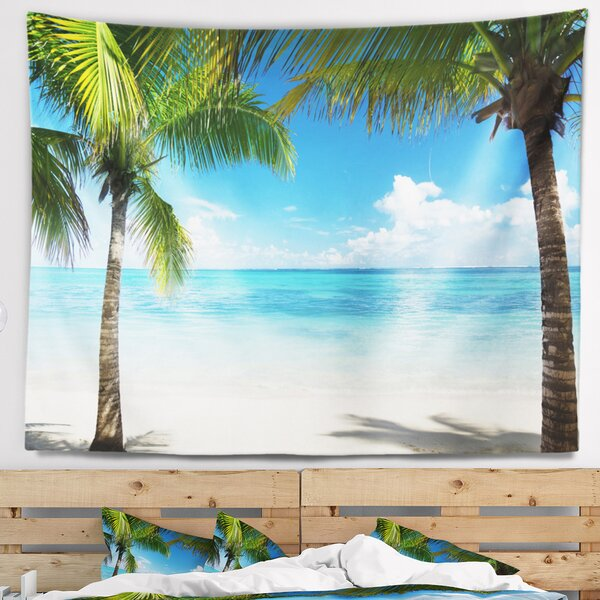 Landscape Photography Palm Trees and Sea Tapestry and Wall Hanging by East Urban Home