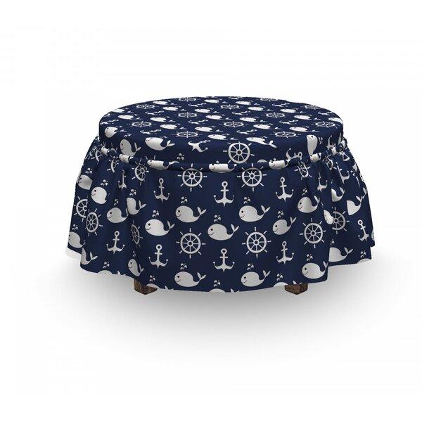 Read Reviews Maritime Anchor Whale 2 Piece Box Cushion Ottoman Slipcover Set