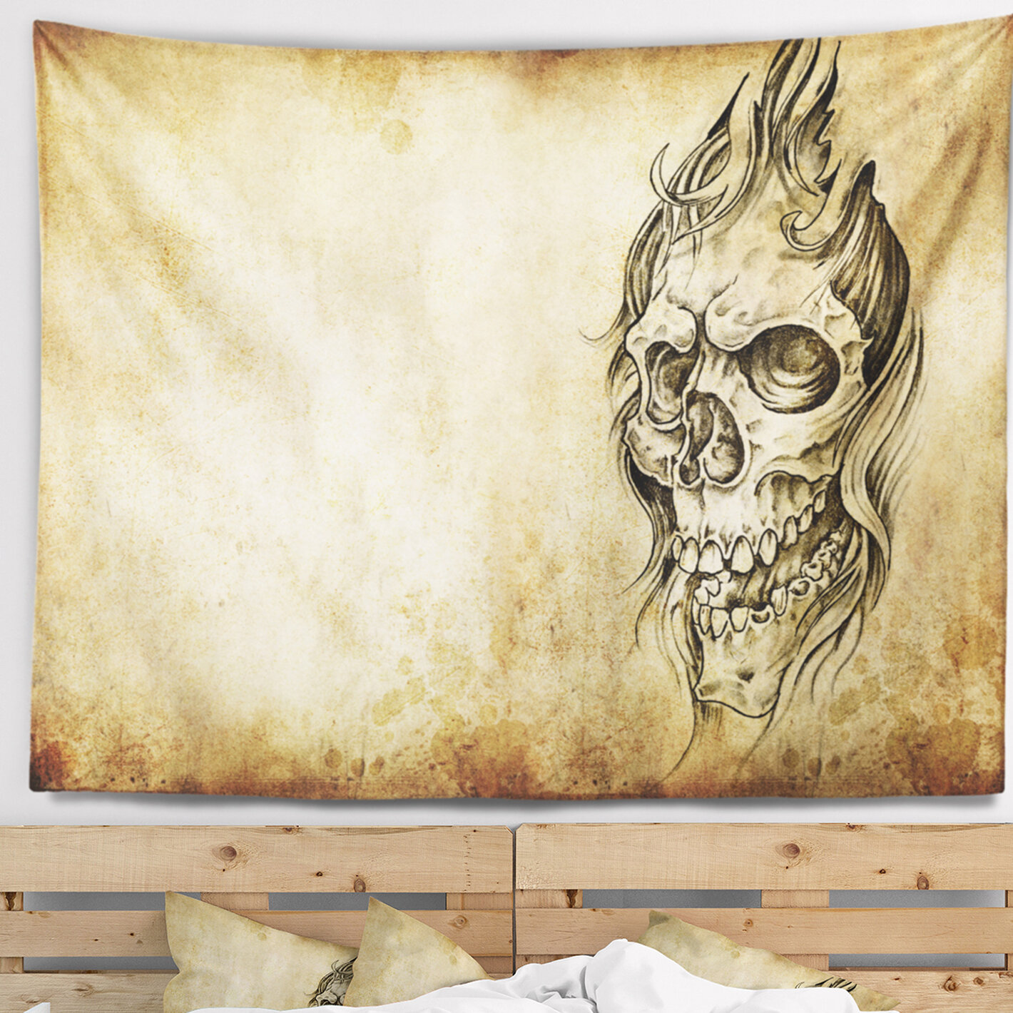 East Urban Home Abstract Death Tattoo Art Tapestry and Wall Hanging ...