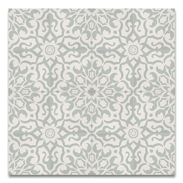 Atlas 8 x 8 Handmade Cement  Tile in Green/White by Moroccan Mosaic