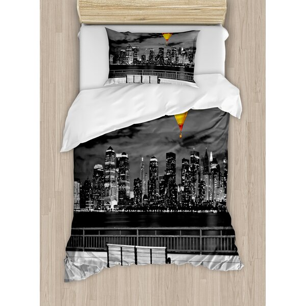 Decorations NYC Skyline from Liberty State Park Vibrant Air Balloon in Sky Duvet Set by East Urban Home