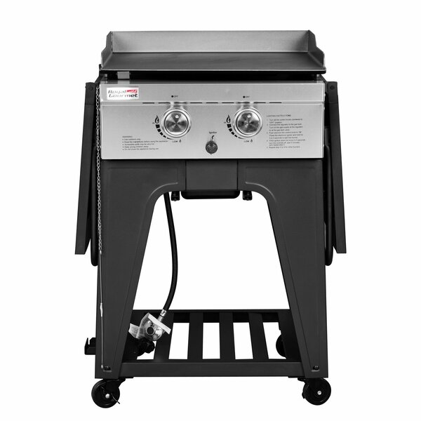 2-Burner Flat Top Propane Gas Grill with Side Table by Royal Gourmet Corp
