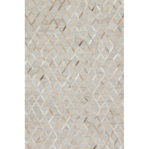 Winnett Hand-Woven Cowhide Beige/Gray Area Rug by Brayden Studio