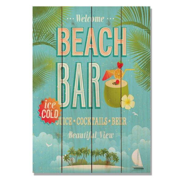 4 Piece Wile E. Wood Beach Bar Vintage Advertisement Set by Gizaun Art