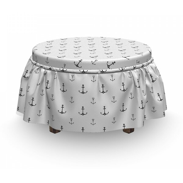 Hand Drawn Heart Motifs Ottoman Slipcover (Set Of 2) By East Urban Home