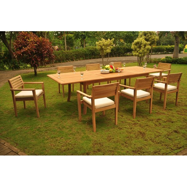 Deangelo 9 Piece Teak Dining Set by Rosecliff Heights