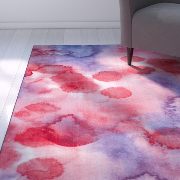Dashiell Paint Brush Fuchsia/Lavender Area Rug by Ebern Designs