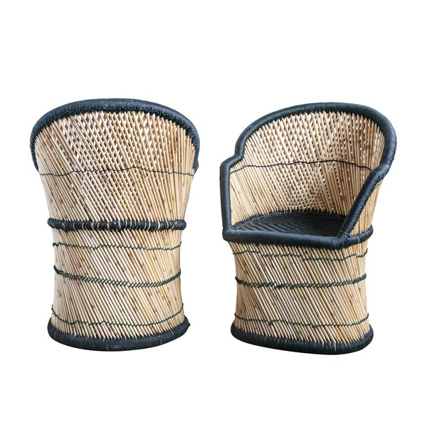 Angeletta Handwoven Bamboo & Rope Barrel Chair by Bungalow Rose