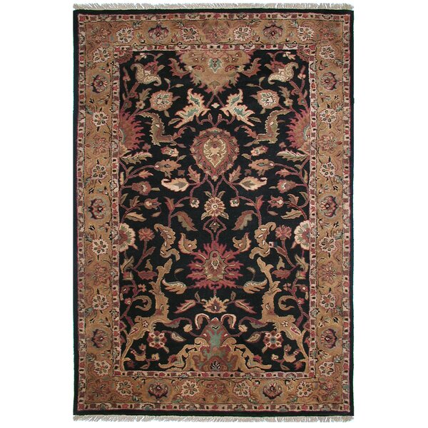 Agra Hand-Tufted Wool Black/Gold Area Rug