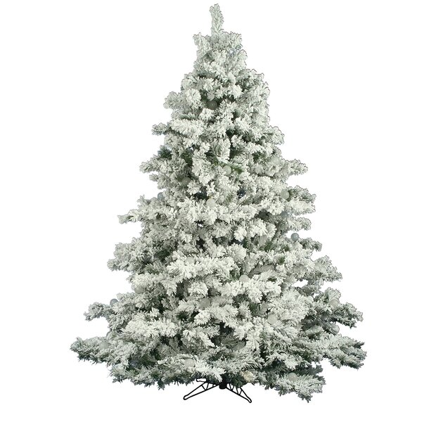 Flocked Alaskan 7 5 White Artificial Christmas Tree With Unlit With Stand By The Holiday Aisle.