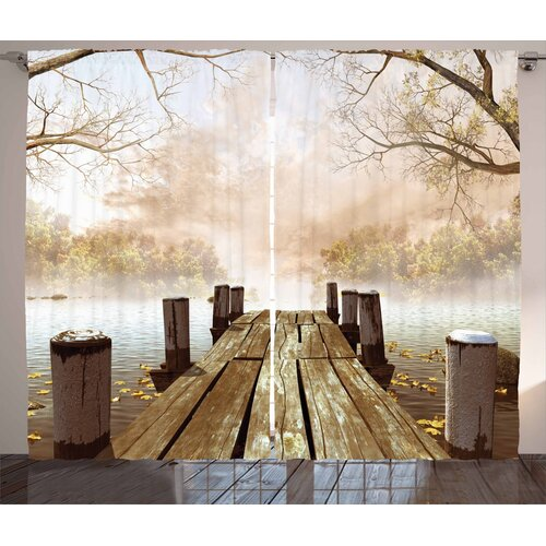Lake in the Forest Pencil Pleat Room Darkening Thermal Curtains East Urban Home Dimensions per curtain: 245cm H x 140cm W