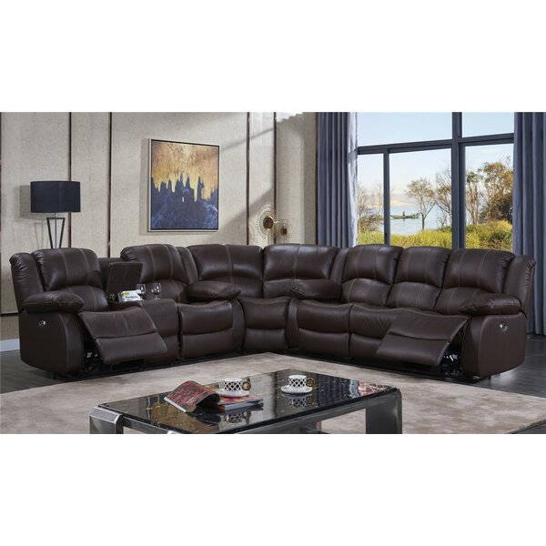 Raylee Leather Reversible Reclining Sectional by Darby Home Co