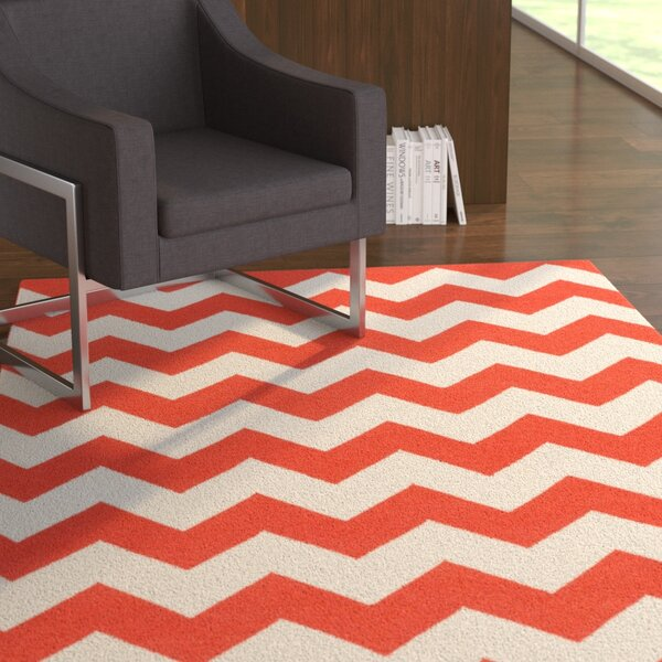 Bangor Orange Chevron Area Rug by Ebern Designs