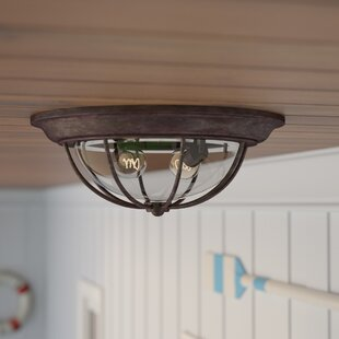 Compare prices Carina 2-Light Outdoor Flush Mount By Beachcrest Home