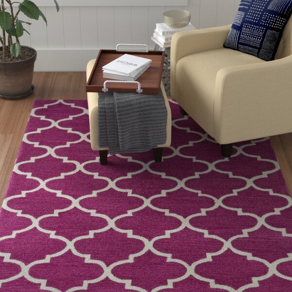Cleaves Fuchsia/Ivory Area Rug by Red Barrel Studio