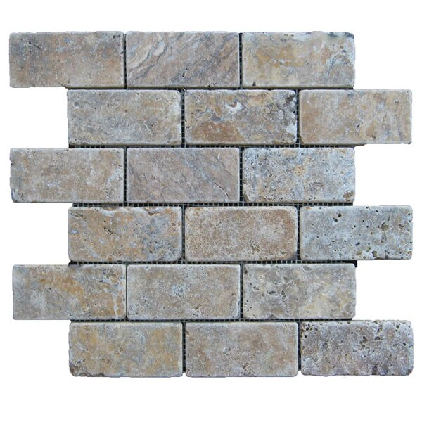 Tumbled 2 x 4 Natural Stone Mosaic Tile in Fantastico by QDI Surfaces