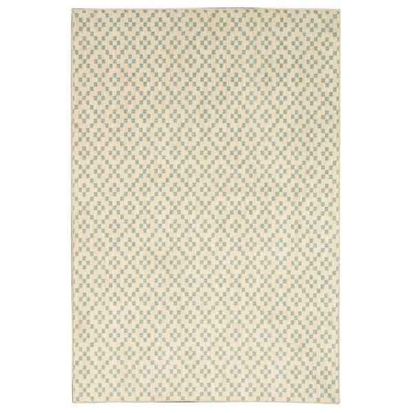 Paulette Simple Lattice Aqua/Beige Area Rug by Viv + Rae