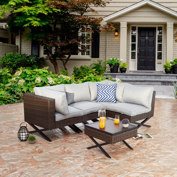 Rimersburg 5 Piece Sectional Seating Group with Cushions by Latitude Run