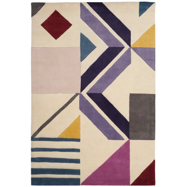 Carlberg Hand-Tufted Wool Ivory/Purple Area Rug by Mercury Row