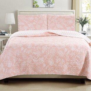 Peach pink floral bedding set wayfair save mightylinksfo