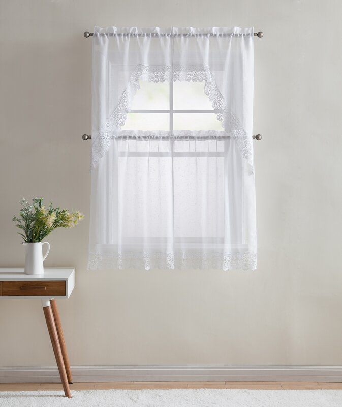 Ophelia & Co. Shubhika Lace Kitchen Curtain & Reviews