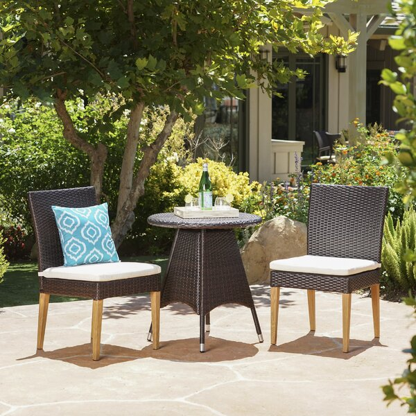 Saurabh Outdoor 3 Piece Bistro Set with Cushions by Latitude Run