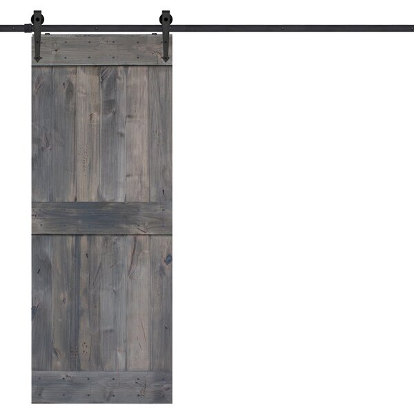 BarnWood Mid Rail Plank Wood 2 Panel Interior Barn Door by Barndoorz