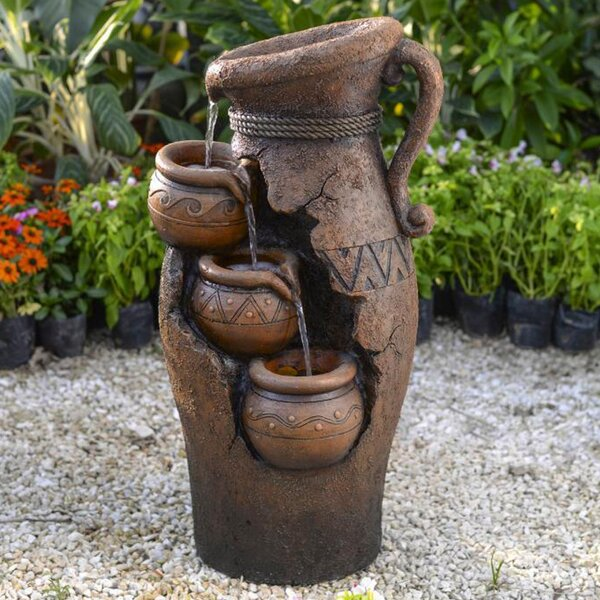 Resin/Fiberglass Tiered Pots Fountain by Jeco Inc.