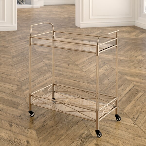 Anesicia Modern 2-Tiered Storage Bar Cart by Everl