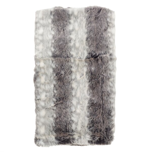Brinwood Plush Wide Stripe Faux Fur Throw Blanket by Foundry Select