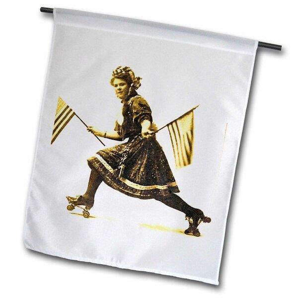Patriotic American Roller Skating Suffragette Early 1900s Polyester Garden Flag by 3dRose