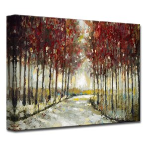 'Autumn Morning Drive' by Norman Wyatt Jr. Painting Print on Wrapped Canvas by Ready2hangart