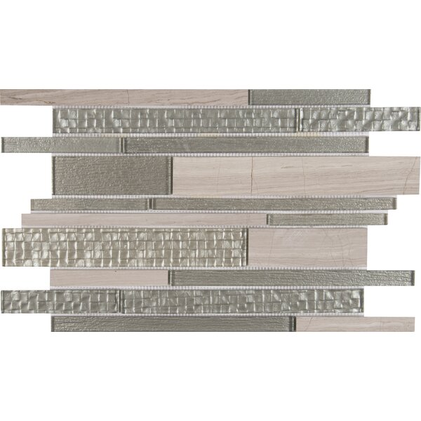Aria Interlocking Random Sized Glass/Stone Mosaic Tile in Gray by MSI