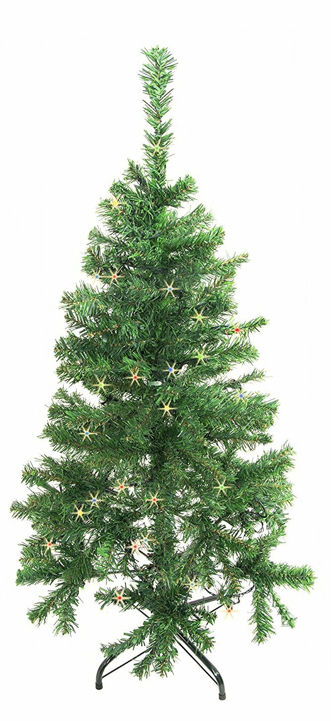 Aleko 4\' Green Pine Artificial Christmas Tree with 50 LED ...