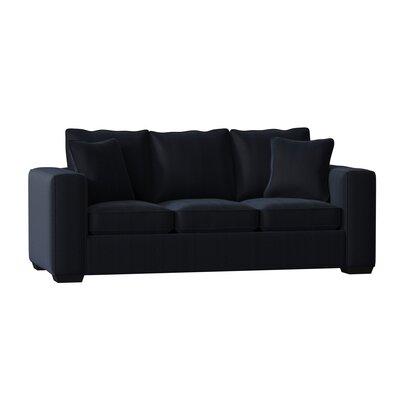 Hafford Sofa Body Fabric: Entice Indigo, Cushion Type: Standard, Throw Pillow Fabric: Entice Indigo