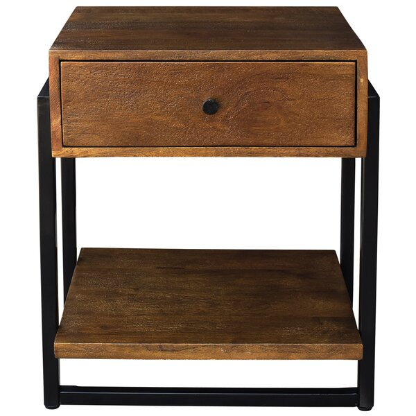 Lowe Solid Mango Wood and Metal End Table by Union Rustic