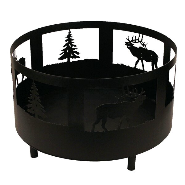 Elk and Tree Scene Metal Wood Burning Fire Pit by Coast Lamp Mfg.
