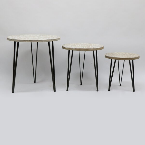 Wadley Metal And Wood 3 Piece Nesting Tables By Bungalow Rose
