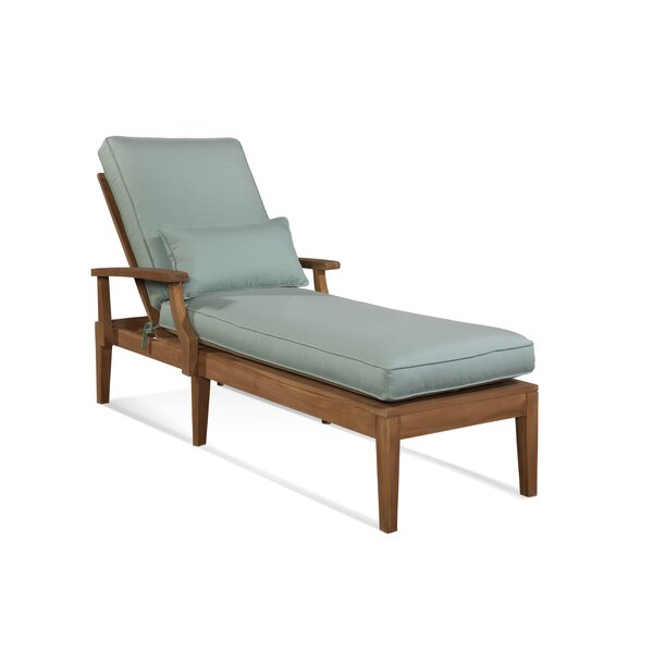 Messina Reclining Teak Chaise Lounge with Cushion by Braxton Culler Braxton Culler