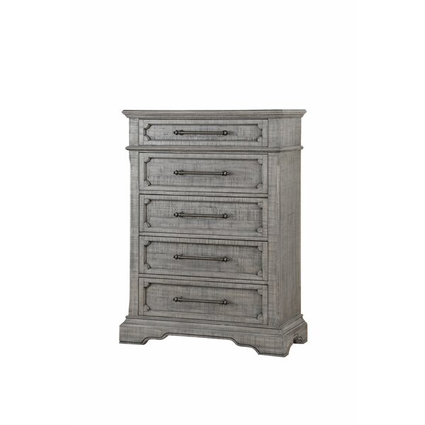 Flinn Raised Scrolled Inlays with 5 Drawer Standard Chest by Ophelia & Co.