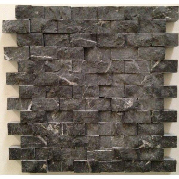 1 x 2 Marble Mosaic Tile in Taurus Black by Ephesus Stones