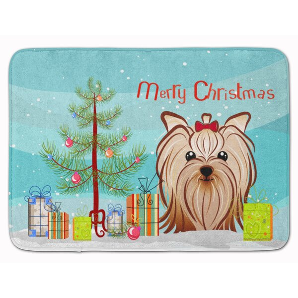 Christmas Yorkie Yorkishire Terrier Memory Foam Bath Rug by The Holiday Aisle