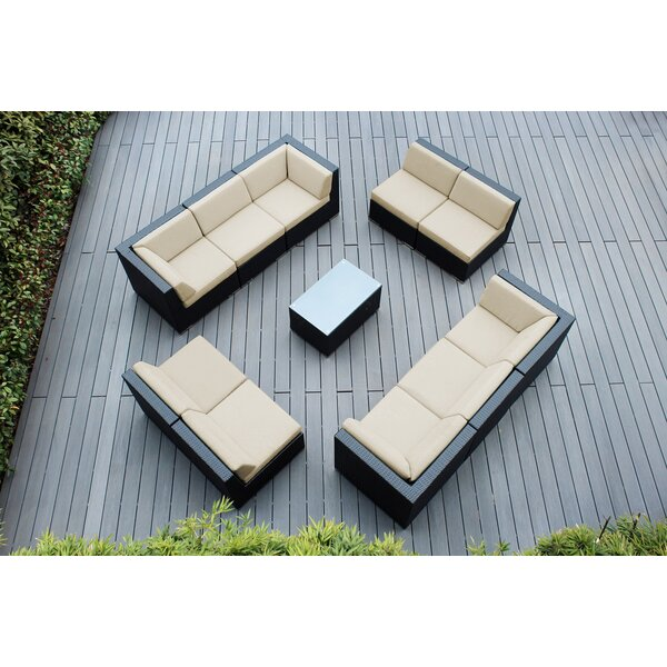 Powelton 11 Piece Rattan Sunbrella Sectional Seating Group with Cushions by Wrought Studio