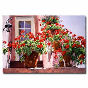 Geraniums on the Stairs by David Lloyd Glover Painting Print on Canvas by Trademark Fine Art