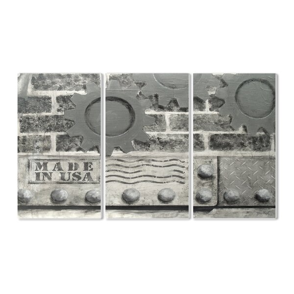 Industrial USA Triptych 3 Piece Graphic Art Wall Plaque Set by Stupell Industries