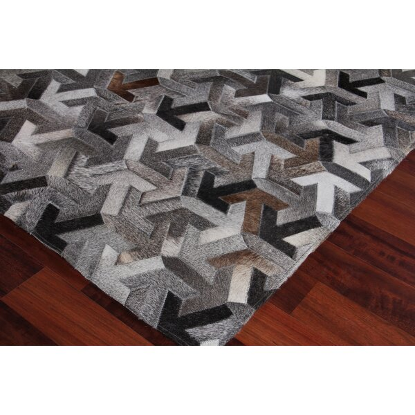Natural Hand-Woven Cowhide Gray/Black Area Rug by Exquisite Rugs