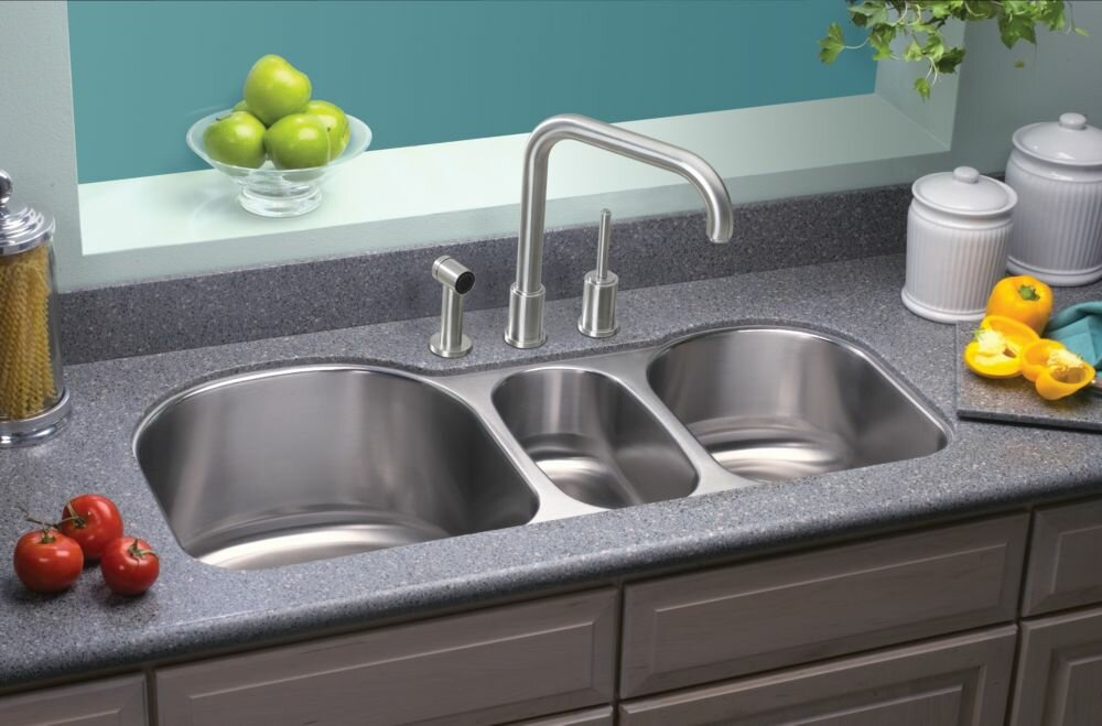 Triple Bowl Kitchen Sinks Elkay lustertone 395 x 20 undermount triple bowl kitchen sink lustertone 395 x 20 undermount triple bowl kitchen sink workwithnaturefo