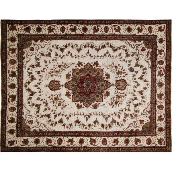 One-of-a-Kind Aubin Distressed Hand-Knotted Ivory Area Rug by Isabelline