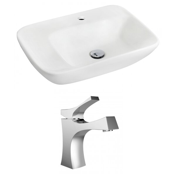 Ceramic 24 Wall Mount Bathroom Sink with Faucet by Royal Purple Bath Kitchen